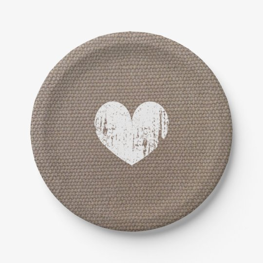 Burlap country chic heart paper plates for wedding | Zazzle.com