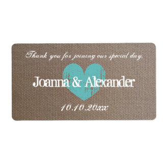 Burlap country chic wedding water bottle labels