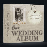 """Burlap Country Couple Photo Wedding Photo Album 3 Ring Binder<br><div class=""""desc"""">(1) You are able to change the background by clicking the &quot;Customize it&quot; button and then setting the background color or adding your own background image. (2) All text style, colors, sizes can also be modified to fit your needs. (3) If you need any customization or matching items, please contact...</div>"""