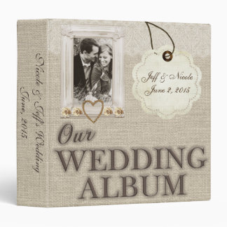 Burlap Country Couple Photo Wedding Photo Album 3 Ring Binder