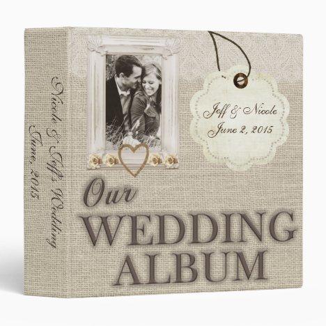 Burlap Country Couple Photo Wedding Photo Album 3 Ring Binder