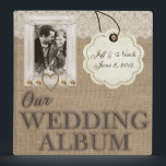 """Burlap Country Couple Photo Wedding Photo Album Binder<br><div class=""""desc"""">(1) You are able to change the background by clicking the &quot;Customize it&quot; button and then setting the background color or adding your own background image. (2) All text style, colors, sizes can also be modified to fit your needs. (3) If you need any customization or matching items, please contact...</div>"""