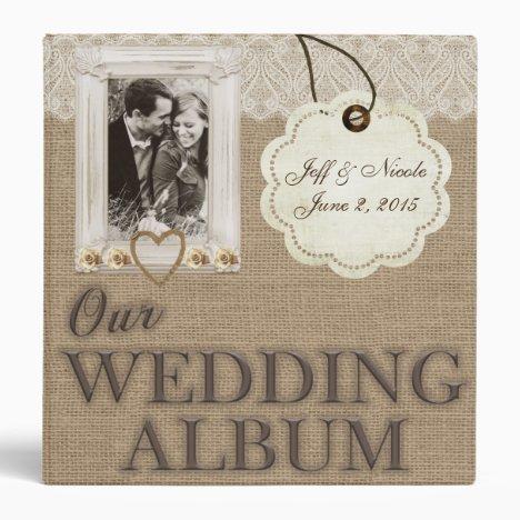 Burlap Country Couple Photo Wedding Photo Album Binder