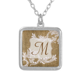 Burlap Country Lace Applique Monogram Necklace