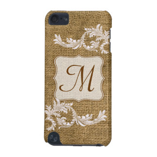 Burlap Country Lace Monogram Initial IPOD Touch iPod Touch (5th Generation) Cover