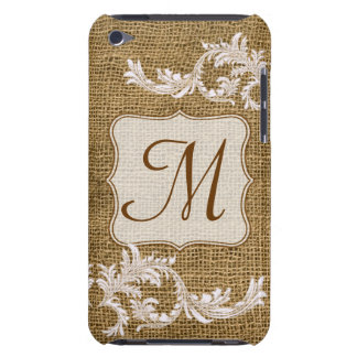 Burlap Country Lace Monogram Initial IPOD Touch iPod Touch Cover