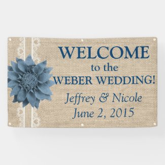 Burlap Country Rustic Custom Wedding Banner