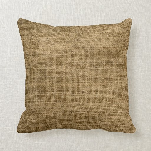 Burlap Country Rustic Fabric Throw Couch Pillow Zazzle