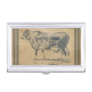 burlap cow feed sack case for business cards