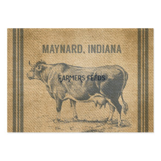 burlap cow feed sack large business card