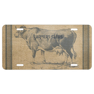 burlap cow feed sack license plate