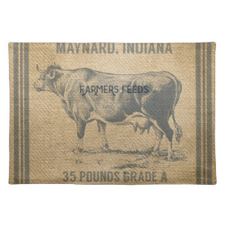 burlap cow feed sack placemat