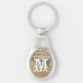 burlap cow feed sack Silver-Colored oval metal keychain