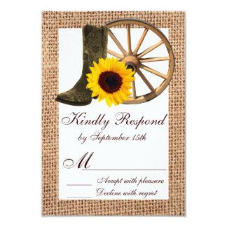 Burlap Cowboy Boots Wagon Wheel Sunflower RSVP Card