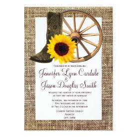 Burlap Cowboy Boots Wagon Wheel Sunflower Wedding Card