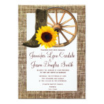 Burlap Cowboy Boots Wagon Wheel Sunflower Wedding 5x7 Paper Invitation Card