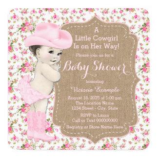 Wonderful Burlap Cowgirl Baby Shower Card