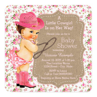 Burlap Cowgirl Baby Shower Floral Calico 5.25x5.25 Square Paper Invitation Card