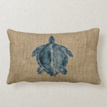 Burlap Creatures Illustration Blue Turtle Design Lumbar Pillow