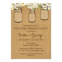Burlap Daisies Mason Jars housewarming Invite
