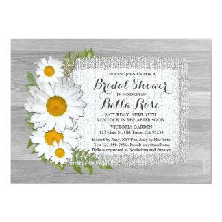 """Burlap daisy bridal shower invites daisy2 4.5"""" x 6.25"""" invitation card"""