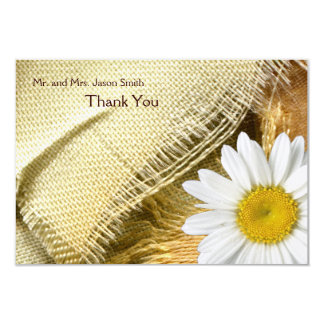 Burlap Daisy flat thank you card with envelope