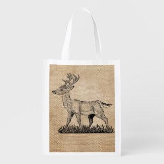 Burlap Deer Buck Horns Rustic  Background Grocery Bag