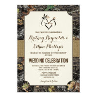 Burlap   Deer Hunting Camo Wedding Invitations