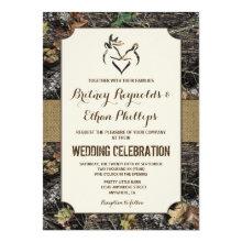 Burlap + Deer Hunting Camo Wedding Invitations