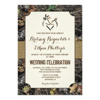 Elegant Burlap + Deer Hunting Camo Wedding Invitations