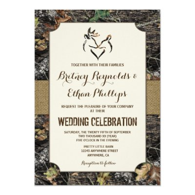 rustic camo hunting deer antlers blank invitations | zazzle, Wedding invitations