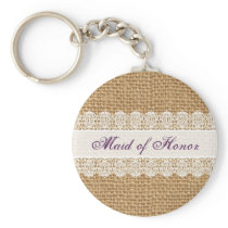 Burlap Delicate Lace -Maid of Honor- Shabby Chic Keychain