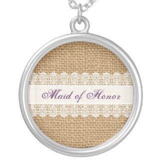 Burlap Delicate Lace -Maid of Honor- Shabby Chic Silver Plated Necklace
