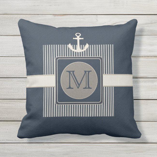 Burlap Effect Nautical Ship's Anchor Initial Throw Pillow