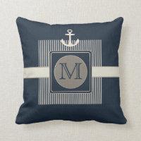 Burlap Effect Nautical Ship's Anchor Monogram Pillows