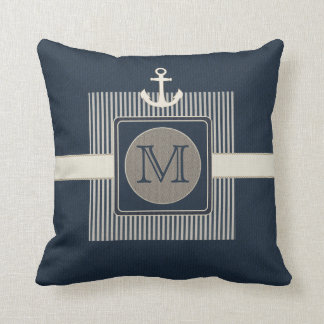 Burlap Effect Nautical Ship's Anchor Monogram Throw Pillow