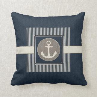 Burlap Effect Nautical Ship's Anchor Striped Pillow