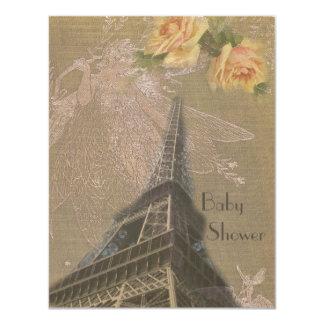 Burlap Eiffel Tower, Fairies & Roses Baby Shower Card