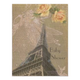 "Burlap Eiffel Tower, Fairies & Roses Baby Shower 4.25"" X 5.5"" Invitation Card"