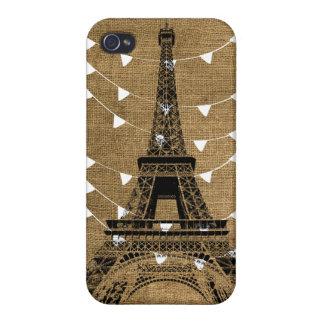 Burlap Eiffel Tower iPhone Case