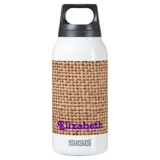 Burlap Fabric style Jute Look 10 Oz Insulated SIGG Thermos Water Bottle