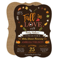 Burlap Fall In Love Pumpkin Baby Shower Invitation