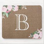"""Burlap Floral Blooms Monogram Mouse Pad<br><div class=""""desc""""></div>"""