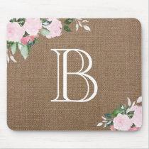 Burlap Floral Blooms Monogram Mouse Pad