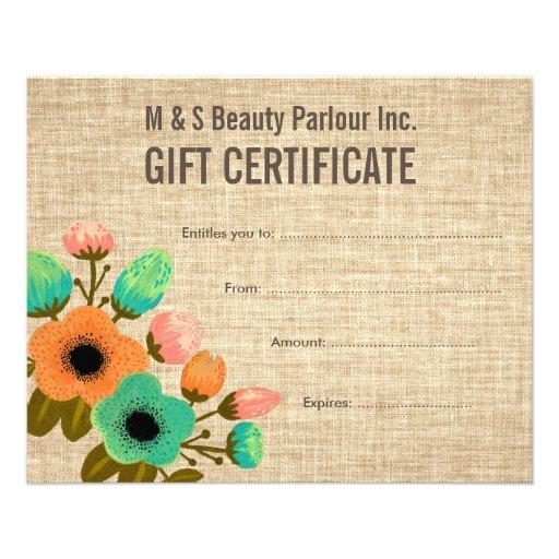 Burlap floral salon gift certificate template flyer zazzle for Zazzle gift certificate