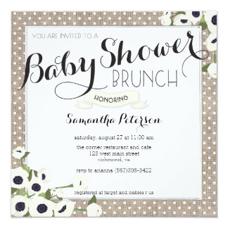 Burlap Flowers Baby Shower Brunch Invitation