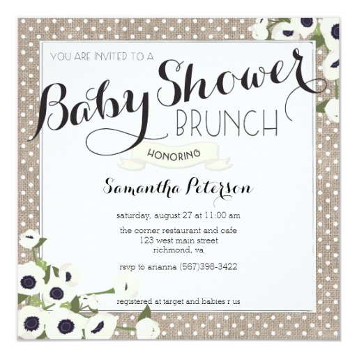 burlap flowers baby shower brunch invitation zazzle
