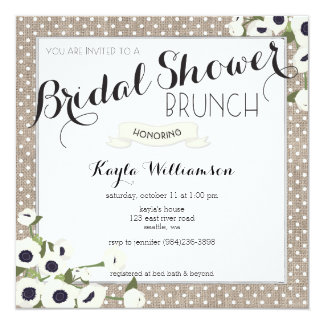 Burlap Flowers Bridal Shower Brunch Invitation