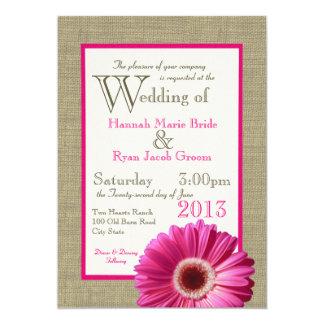 Burlap Fuchsia Gerbera Daisy Wedding 5x7 Paper Invitation Card