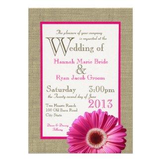 Burlap Fuchsia Gerbera Daisy Wedding Invites